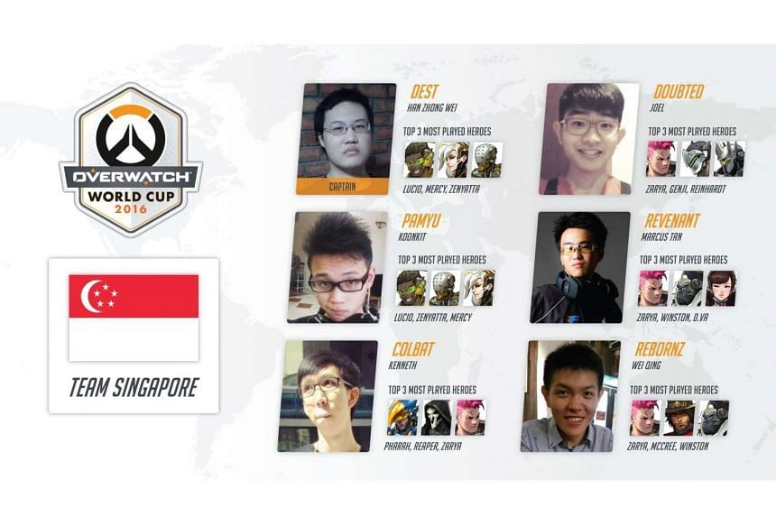 The team representing Singapore in the Overwatch World Cup, which will be held at the video game convention BlizzCon in the United States in November.