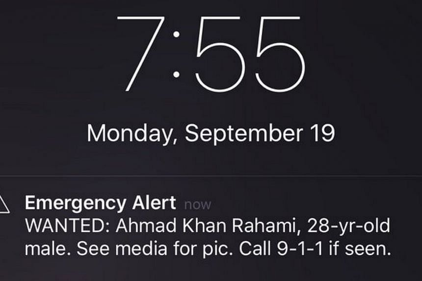 The mobile phone alert issued by the Federal Emergency Management Agency in the US that helped track down bombing suspect Ahmad Khan Rahami.
