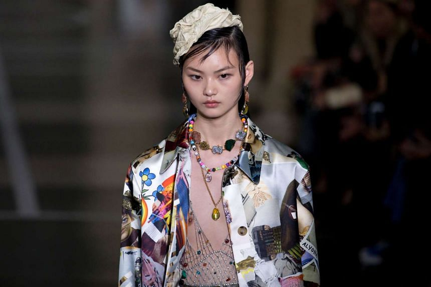 A model presents a creation by British fashion designer Christopher Kane at London Fashion Week on Monday (Sept 19).