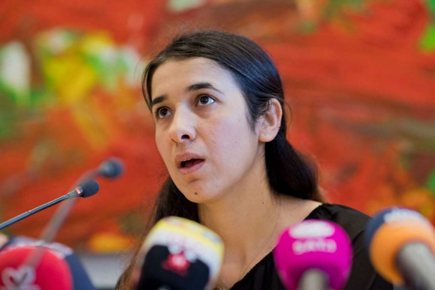 Nadia Murad Bansee Taha speaking at the state Parliament in Hanover, Germany, on May 31, 2016.