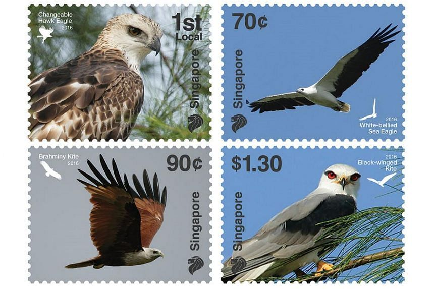 Singapore Post's four-stamp set will feature four birds of prey native to Singapore.