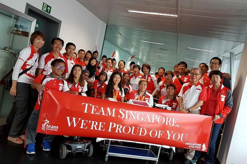 Team Singapore's Paralympians welcomed by Singapore Airlines during a stopover in Barcelona.
