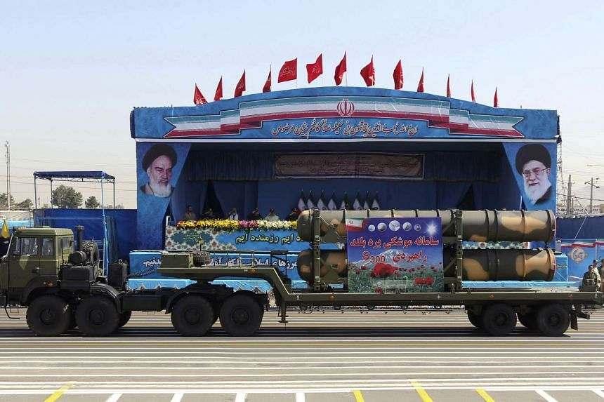 An Iranian military truck carries parts of the S300 missile system during the annual military parade marking the anniversary of the start of Iran's 1980-1988 war with Iraq, on Sept 21, 2016.