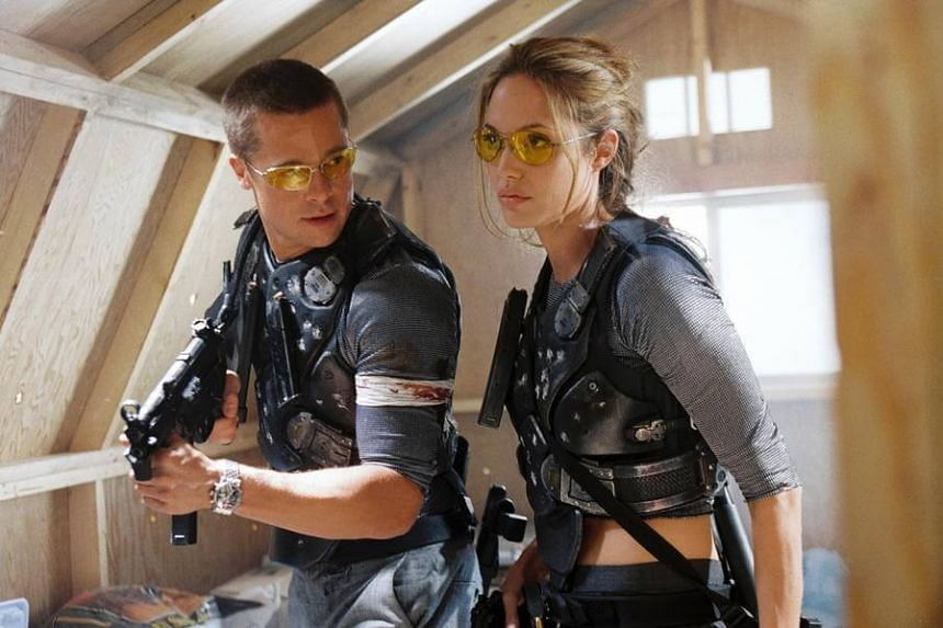 A cinema still from 2004's Mr. & Mrs. Smith, starring Angelina Jolie and Brad Pitt. Their feelings for each other reportedly blossomed during its filming.