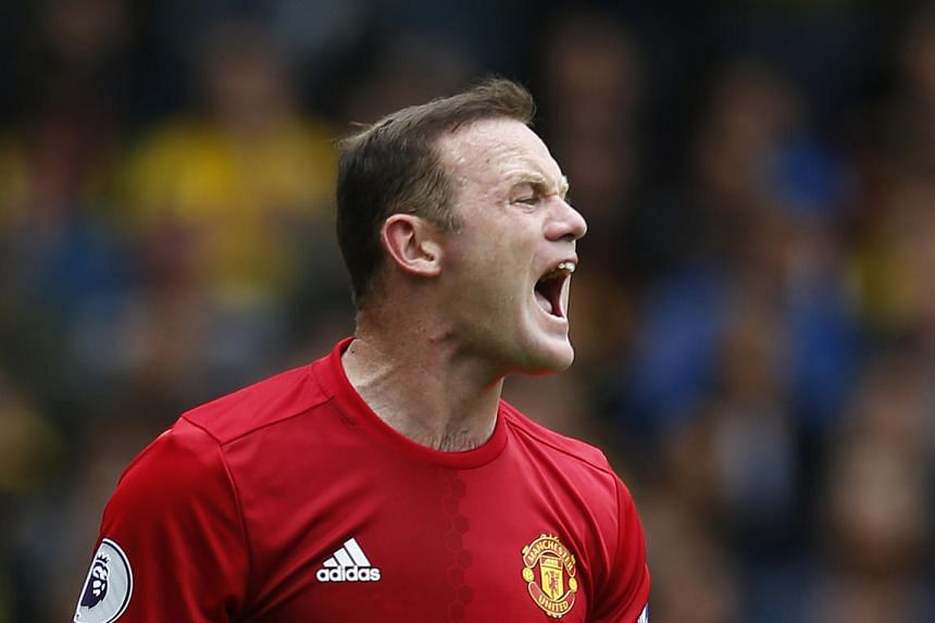 Manchester United's Wayne Rooney reacts during the English Premier League match against Watford.