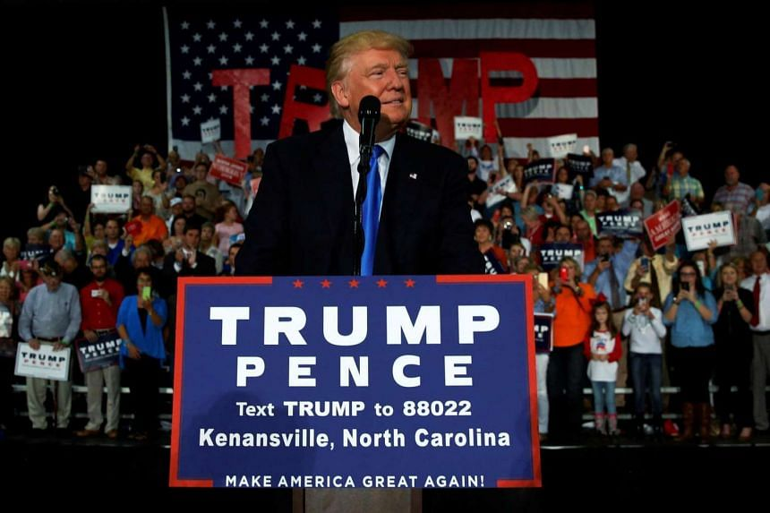Republican presidential nominee Donald Trump holds a rally with supporters in Kenansville, North Carolina, on Sept 20, 2016.