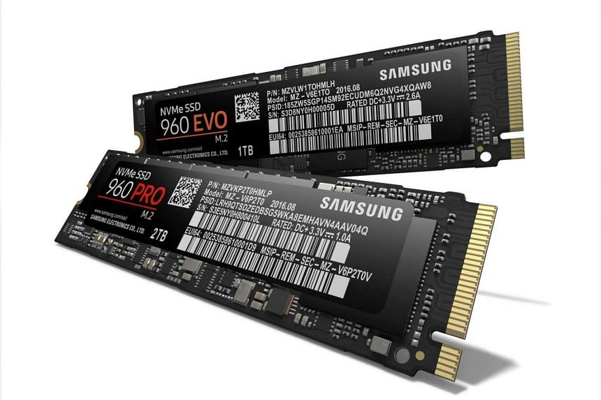 The new Samsung 960 PRO (front) and 960 EVO solid state drives announced today at  its annual SSD Summit in Seoul.