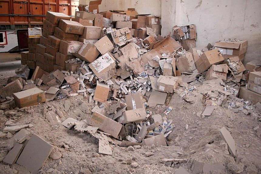 Medical supplies damaged in Monday night's strike in the town of Orum al-Kubra in Syria's Aleppo province.