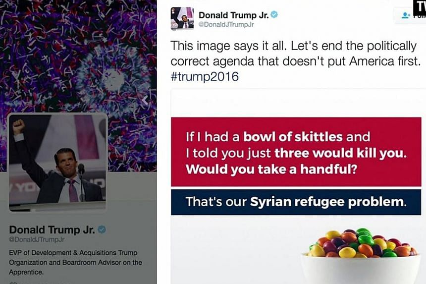 A screenshot of Mr Trump Jr's controversial Syrian refugee tweet on Monday.