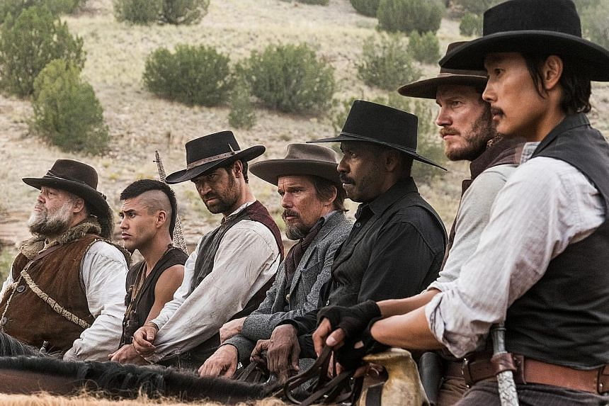 Directed by Antoine Fuqua, The Magnificent Seven stars (from far right) Lee Byung Hun, Chris Pratt, Denzel Washington, Ethan Hawke, Manuel Garcia-Rulfo, Martin Sensmeier and Vincent D'Onofrio.