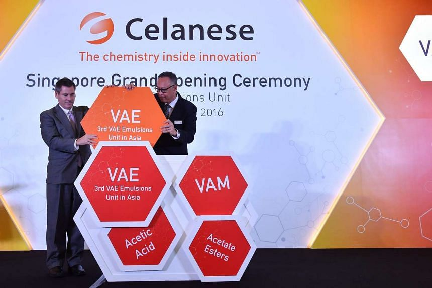 Mr Mark Oberle (left), Celanese senior vice-president and head of Asia operations, and Mr Lim Kok Kiang, Assistant Managing Director of the Singapore Economic Development Board, at the opening ceremony of Celanese's new VAE production unit.