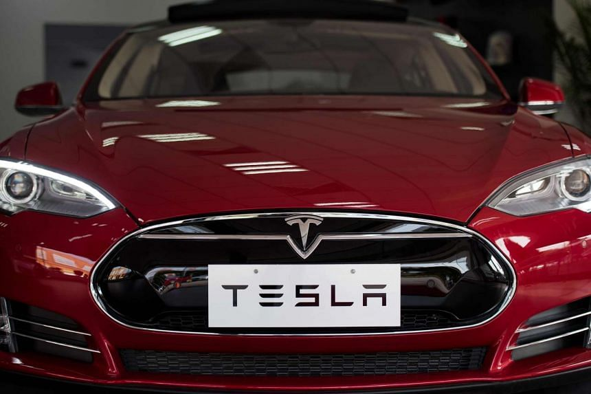 A Tesla Model S car on display at a showroom in Shanghai on March 17, 2015.