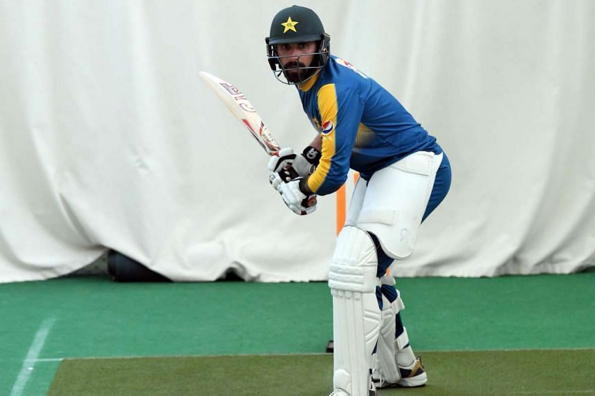 Pakistan cricketer Misbah ul-Haq takes part in a training session at Edgbaston in Birmingham, central England, on Aug 2, 2016.