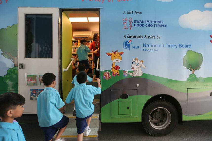 Molly, the National Library Board's improved mobile library that visits underserved communities.