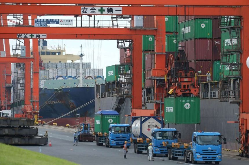 An international container pier at a port in Tokyo.