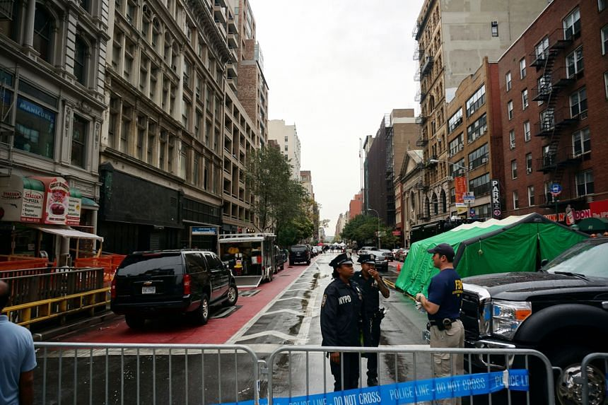A police blockade at West 23rd Street in Chelsea, New York City, where a bomb blast last Saturday injured 29 people.