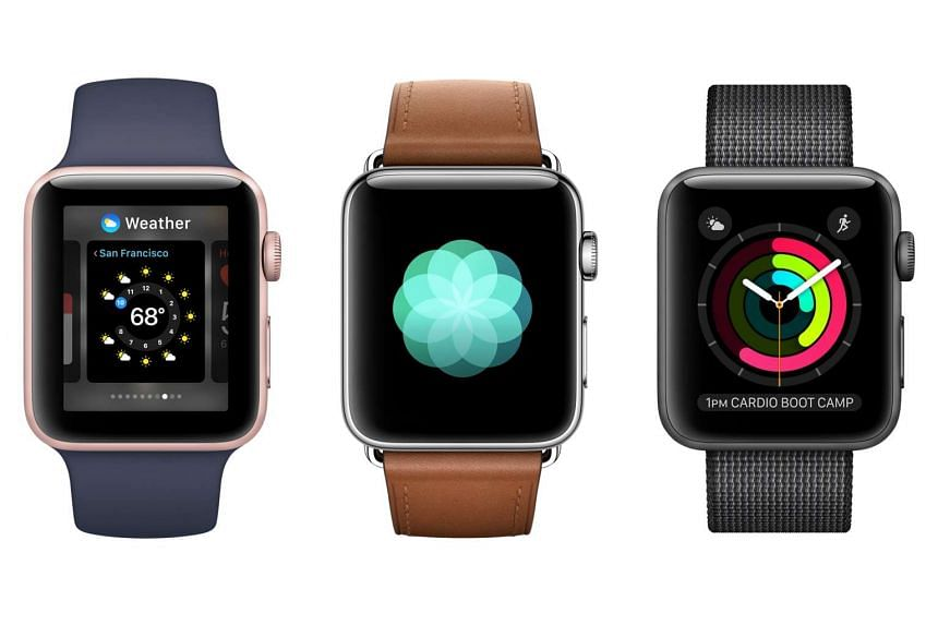 Above left: The Apple Watch Series 2 has a rectangular face and is similar to its predecessor in design.