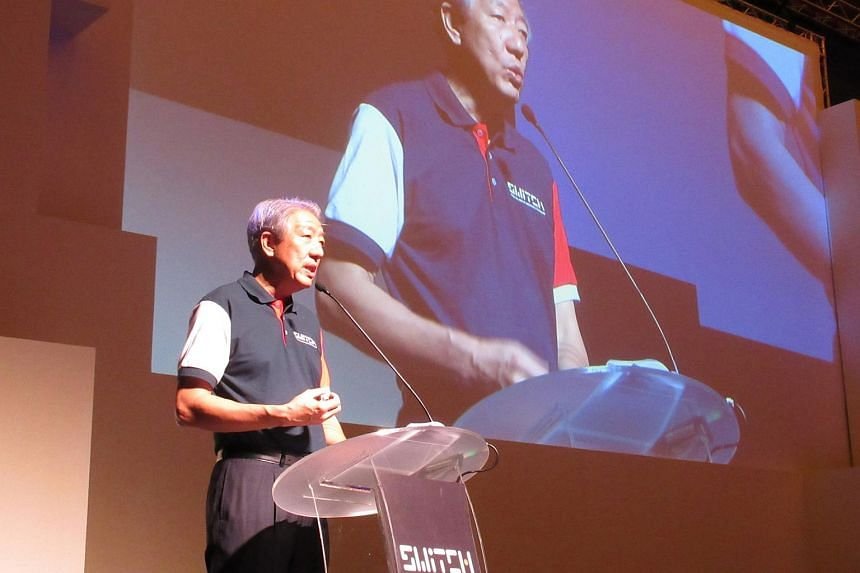 Teo Chee Hean, Deputy Prime Minister and Co-ordinating Minister for National Security, and Chairman of National Research Foundation speaking during the Singapore Week of Innovation and Technology.