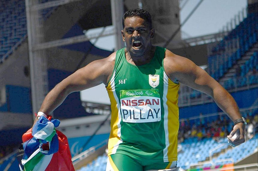 South African Tyrone Pillay celebrates his bronze medal during the Men's Shot put final of the the Rio 2016 Paralympic Games on Sept 12, 2016.