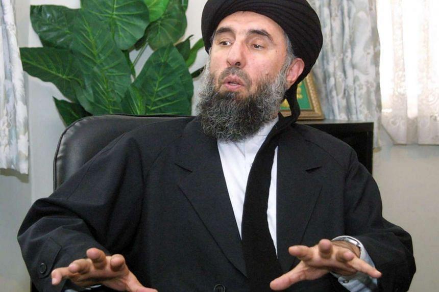 Gulbuddin Hekmatyar giving an interview to AFP in Tehran.