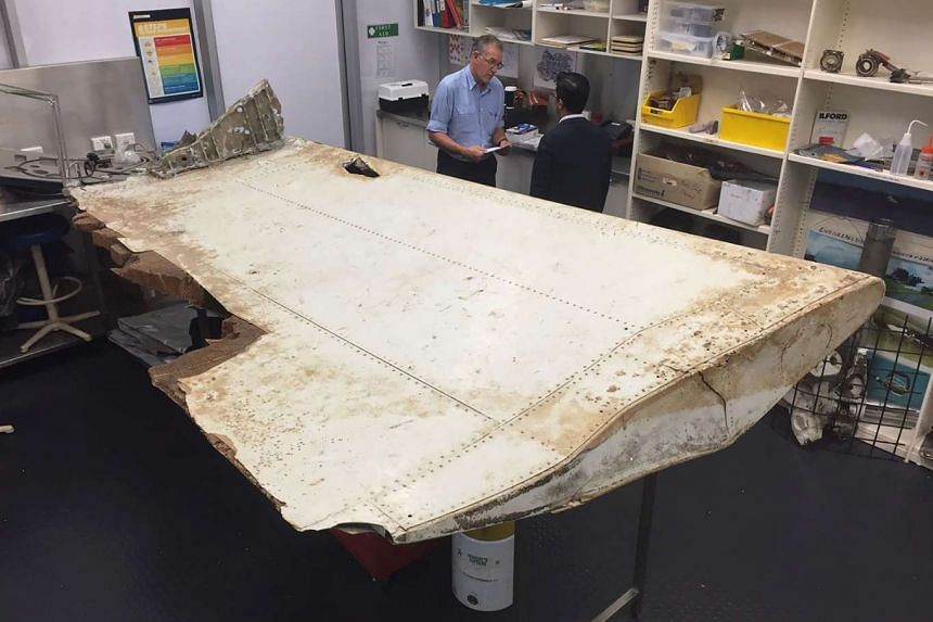 An undated handout photo showing a large piece of debris found in Tanzania recently confirmed as a part of a wing flap from missing passenger jet MH370.