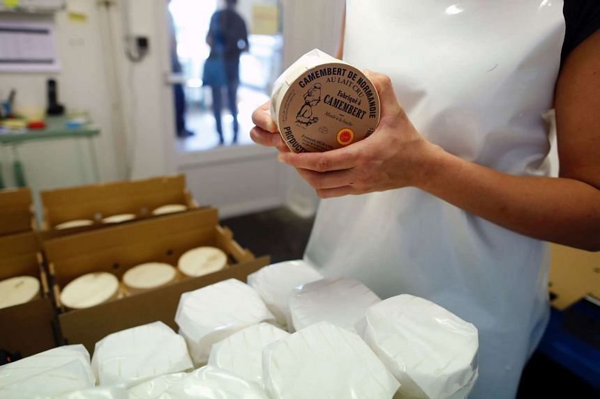 An employee packs camembert cheeses in an haloir of the cheese factory in Camembert, France on Aug 24, 2016.