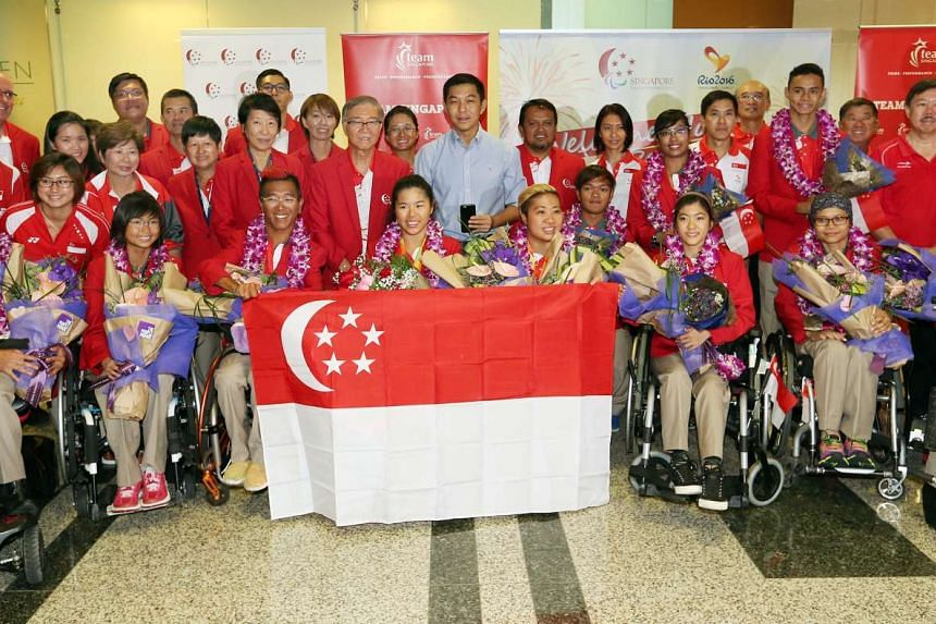 The bulk of Singapore's Paralympians returned home to a welcome ceremony at Changi Airport.