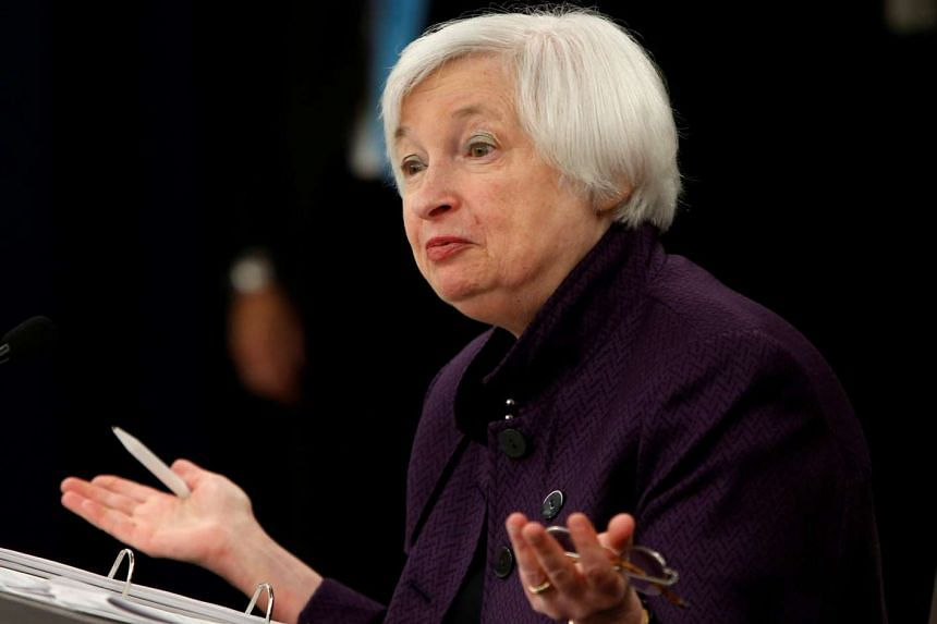 United States Federal Reserve Chair Janet Yellen holds a news conference following the two-day Federal Open Market Committee meeting.