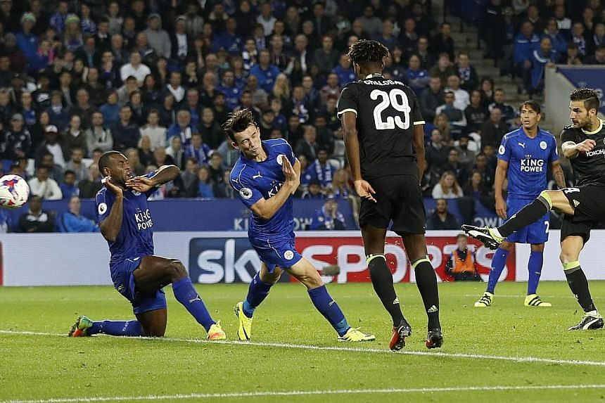 Cesc Fabregas smashing home Chelsea's fourth, and his second, against Leicester to seal a 4-2 win and passage into the next round. The Spaniard, who has been in and out of the team, is keen to face Arsenal this weekend.
