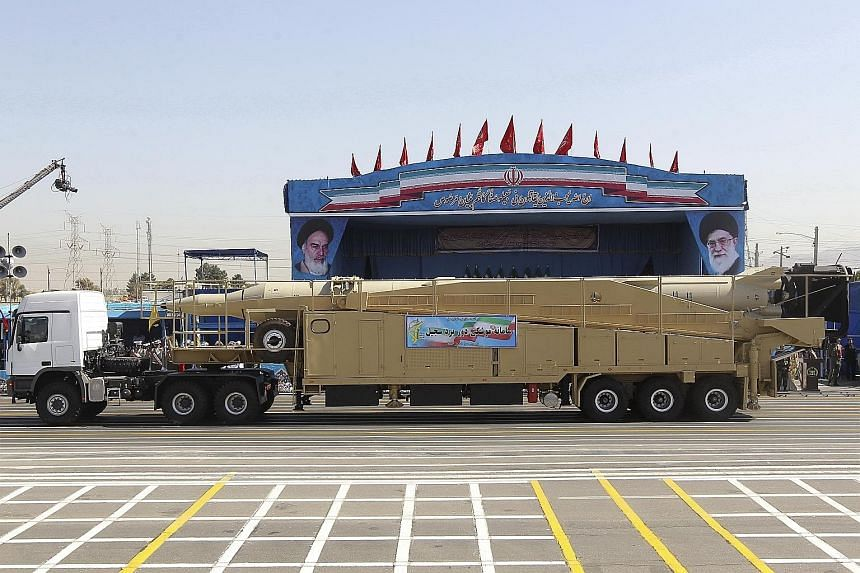 A medium-range Sejil missile at the parade. Iran also held a large maritime display.