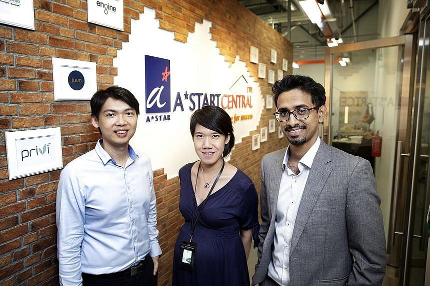 Privi Medical co-founders (from left) Dr Tee, Dr Dharmawan and Mr Prusothman at the official opening of A*StartCentral yesterday. The 983 sq m facility was first set up in March under ETPL, A*Star's commercialisation arm.