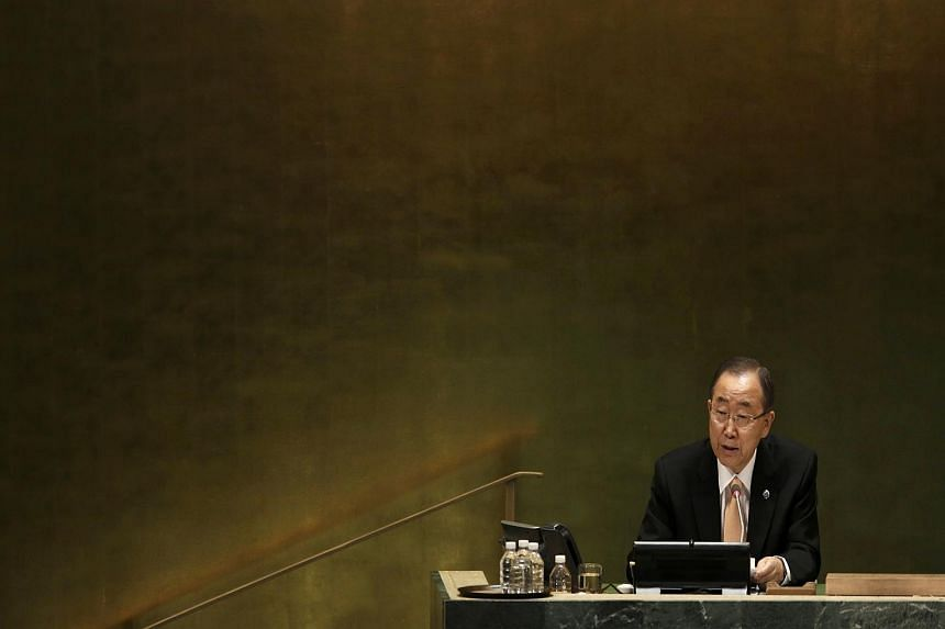 United Nations Secretary General Ban Ki Moon presides over the starting session of the United Nations General Assembly in the Manhattan borough of New York, US, on Sept 20.