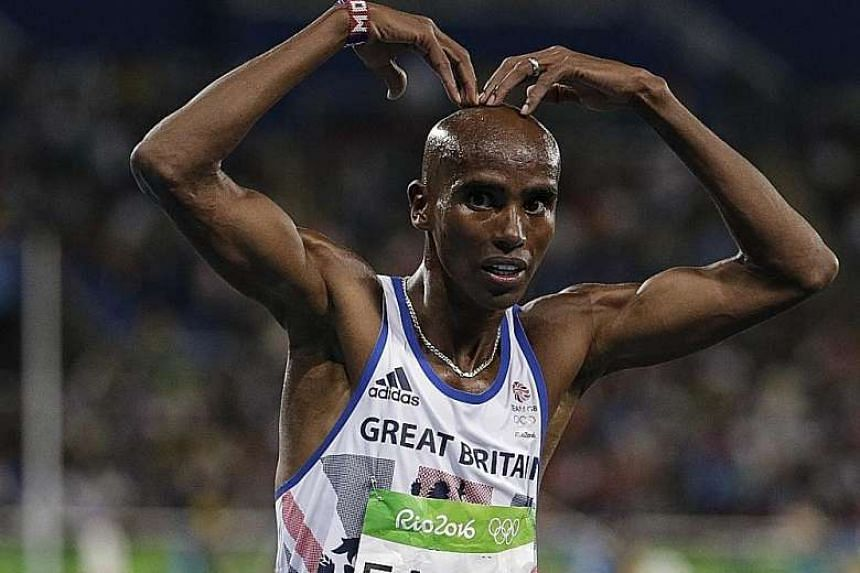 """Mo Farah doing the """"mobot"""" after retaining his 10,000m title at the Rio Olympics last month. The runner was one of eight British athletes who had their medical data released by the Fancy Bears hacking group."""