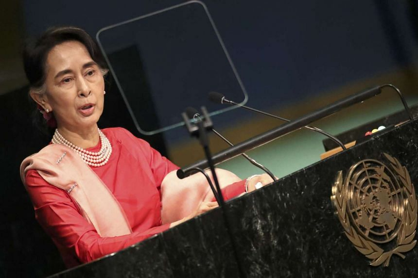 Aung San Suu Kyi addressing the UN General Assembly in on Sept 21, 2016.