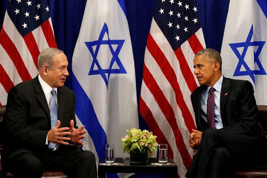 US President Barack Obama meets Israeli Prime Minister Benjamin Netanyahu in New York Sept 21, 2016.