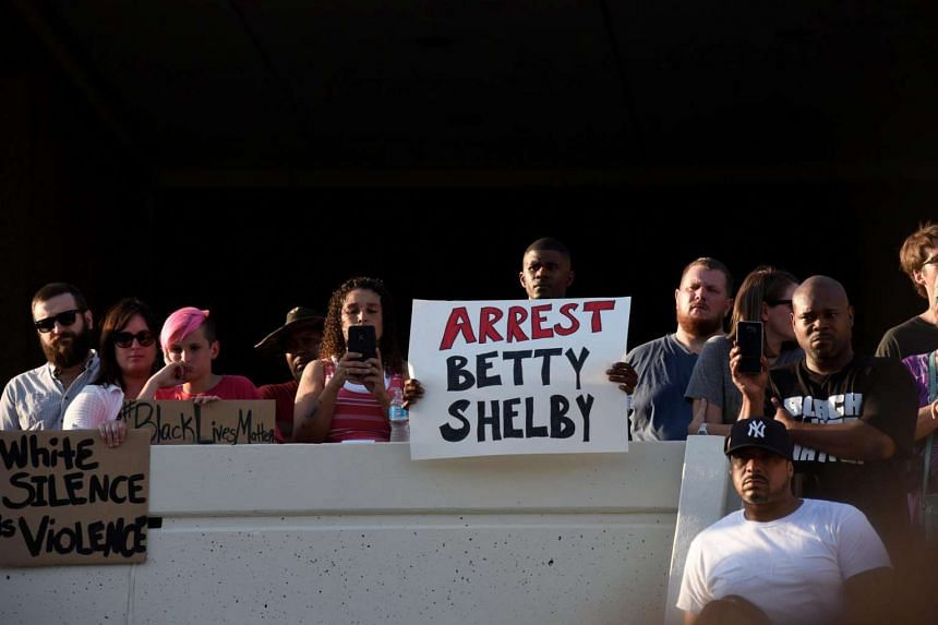 Protesters calling for the arrest of Officer Betty Shelby, who shot dead unarmed motorist Terence Crutcher, demonstrate outside the Tulsa Police headquarters in Tulsa, Oklahoma, on Sept 20, 2016.