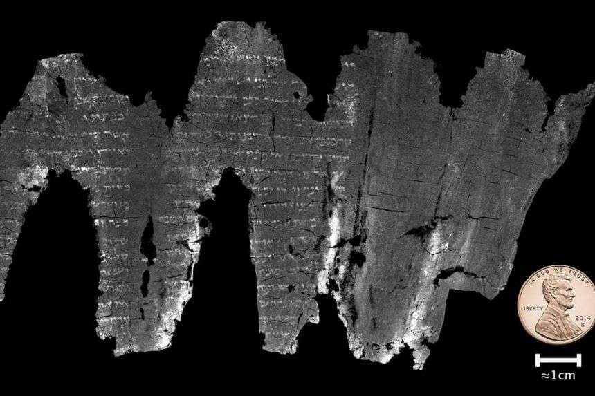 In an undated handout photo, a composite image of the completed virtual unwrapping of the En-Gedi scroll.