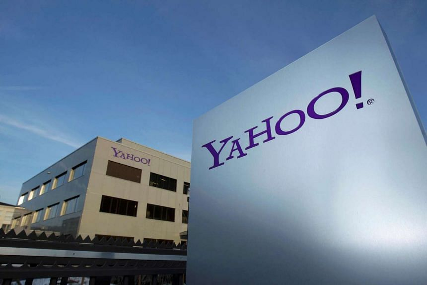 A Yahoo logo is pictured in front of a building in Rolle, Geneva.