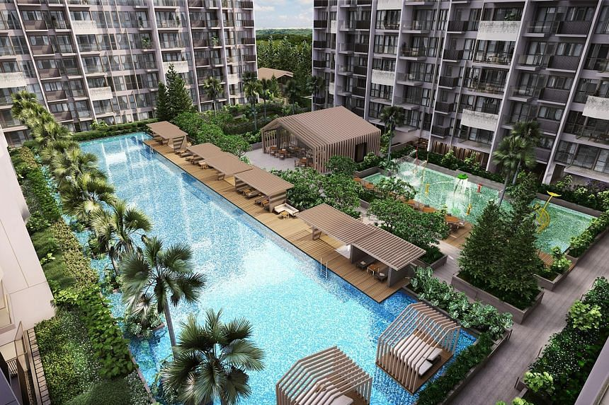 MCC Land's The Alps Residences in Tampines Street 86 will feature design elements that evoke the Swiss Alps, such as towering conifers and a gabled roof on its clubhouse. It will open for preview on Saturday.