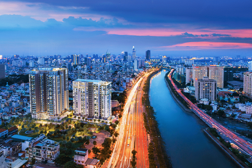 CapitaLand's 17-storey residential tower and 22-storey Somerset serviced residence in the prime District 1 of Ho Chi Minh City.