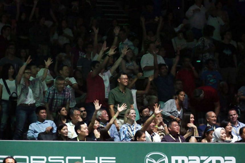 Fans catch the tennis action at the BNP Paribas WTA Finals Singapore presented by SC Global at Singapore Indoor Stadium on Oct 27, 2015.