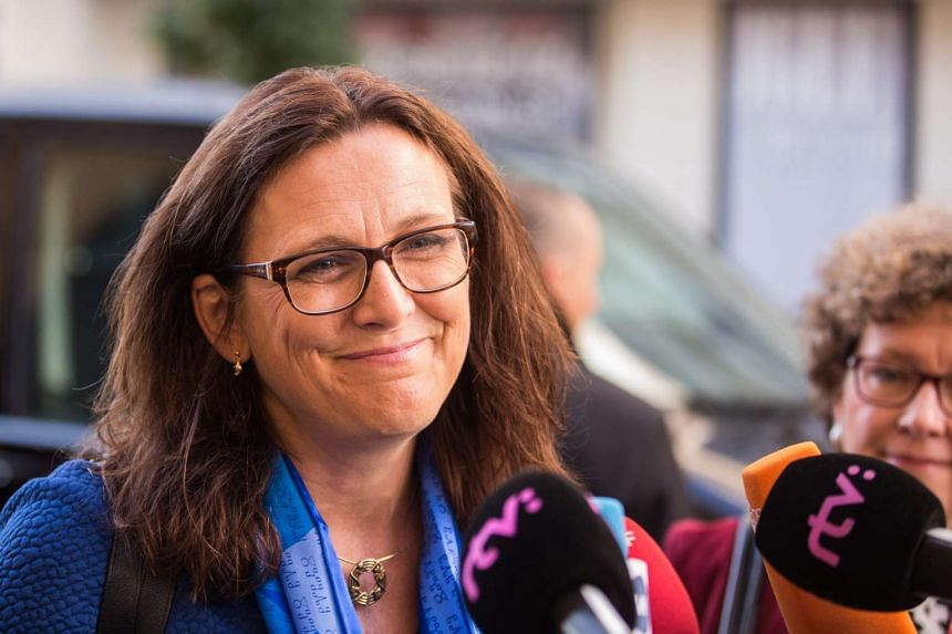 European Commissioner for Trade Cecilia Malmstrom arrives for the Informal Meeting of EU Trade Ministers on Sept 23, 2016.