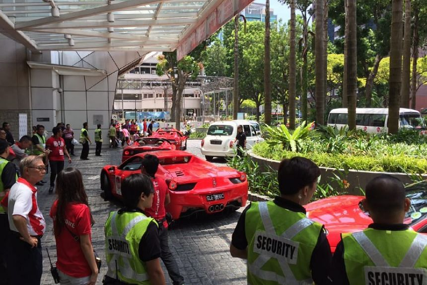 Ferraris leaving the National Library.