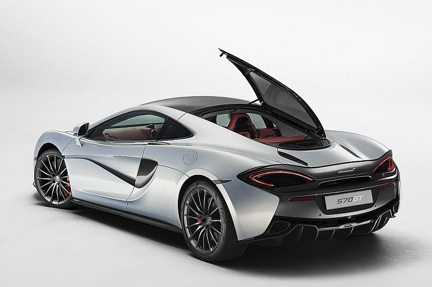 The McLaren 570GT has a side-opening rear windscreen (below) to allow access to the storage area.