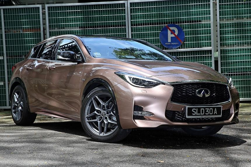The Infiniti Q30 stands out with its sporty silhouette.