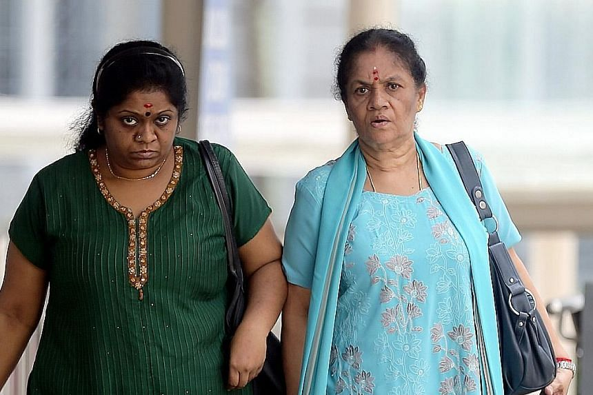 Jayasheela Jayaraman (left) was sentenced to 12 months' jail and ordered to pay $840 in compensation, while her mother Anpalaki Muniandy Marimuthu was sentenced to 16 months' jail. Both women, whose abuse left their maid scarred and with a permanent