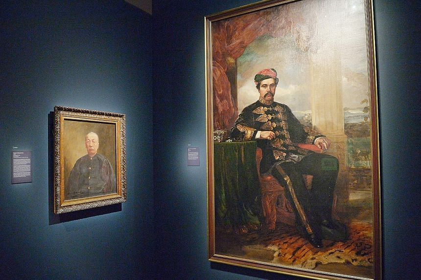 Portraits of Wong Ah Fook (left) and Temenggong Abu Bakar (right) join those of the region's colonial- period leaders now on display at the National Museum.