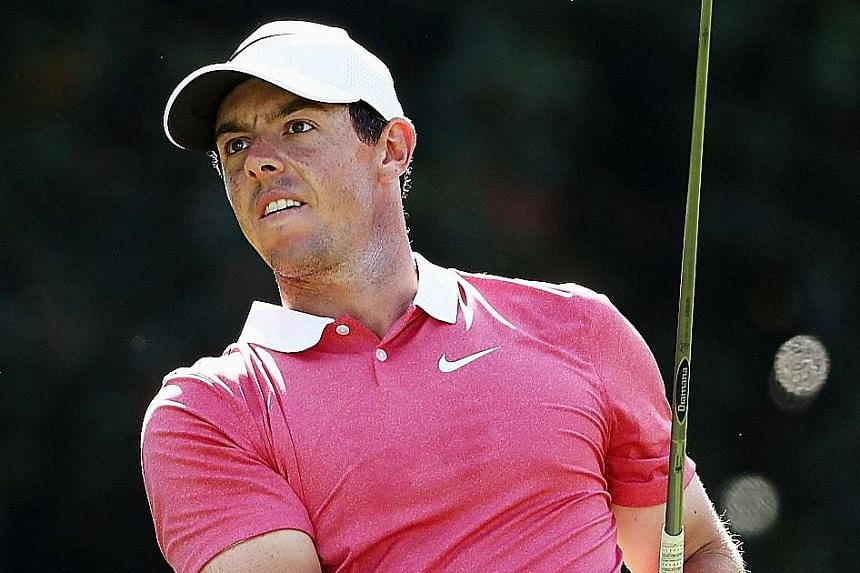 Rory McIlroy hitting his tee shot on the 14th hole in the Tour Championship first round in Atlanta, Georgia. His inconsistent play is not ideal for strokeplay but will work well for the matchplay format of next week's Ryder Cup.