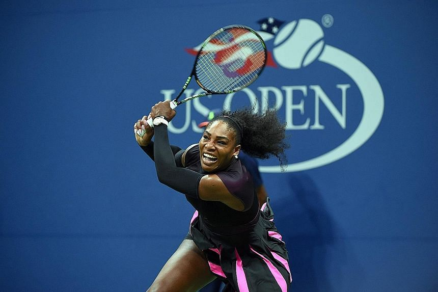 Former world No. 1 Serena Williams hitting a return during her shock loss to Czech Karolina Pliskova in the US Open semi-finals last month in New York. She won her fifth WTA Finals crown in Singapore in 2014 but skipped last year's tournament.