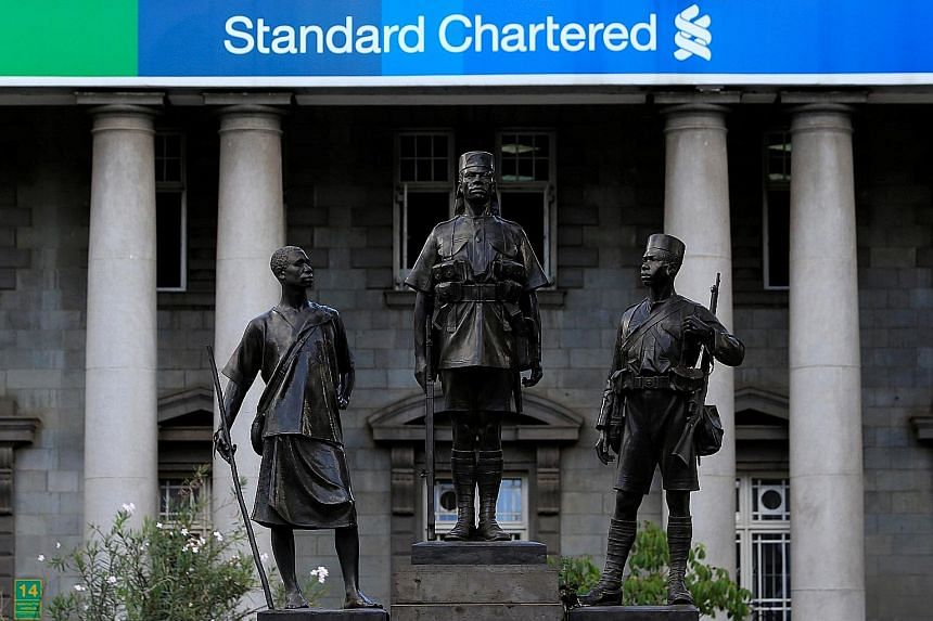 A pre-colonial era monument in front of Standard Chartered Bank in Kenya. The bank, which is focused on Africa, Asia and the Middle East, aims to offer innovative products and services to clients.